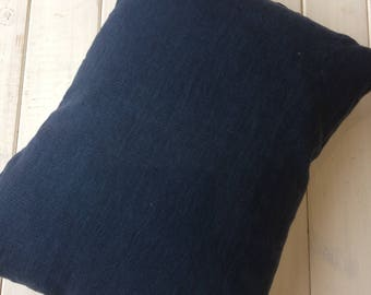 """Navy blue linen cushion with blue striped ticking backing. Perfect for nautical inspired home decor 17""""x13"""" rectangular pillow"""