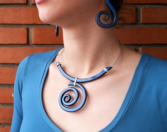 Polymer necklace Jewelry set Statement necklace Clay necklace Spiral necklace Swirls necklace Open necklace Polymer earrings Modern necklace