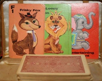 Vintage Whitman Animal Rummy Card Game complete except instruction card Great for mixed media art projects collage