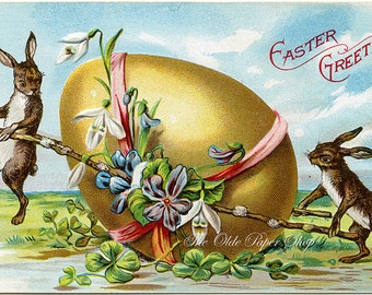 Vintage Easter Greetings Embossed Postcard Bunny Rabbits Giant Golden Egg Decorated with Flowers