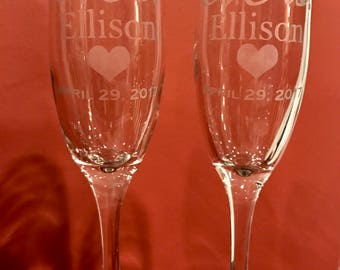 Etched Mr. & Mrs. Wedding Day Champagne Glasses