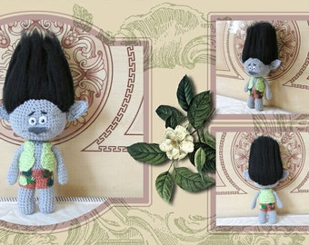 Troll Branch knitched doll. soft toy.