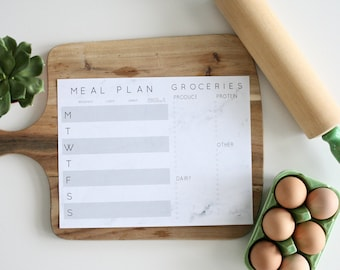 Weekly Meal Planner and Grocery List in Marble design (printable)