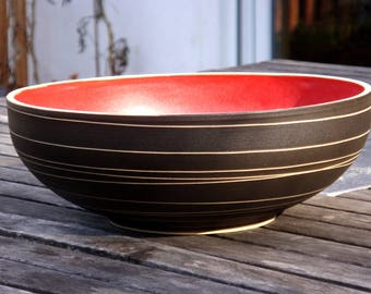 Hand thrown Salad Bowl, fruit bowl in red, gifts for her