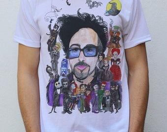 Tim Burton + his characters T shirt, design by hatoola13