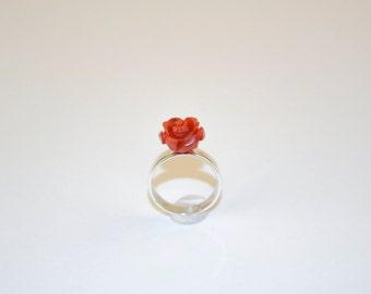 Silver Boho Ring with Red Rose Mediterran Coral silver ring with rose of Mediterranean coral Silver Boho Ring mit Rote Mittelmeer Koralle