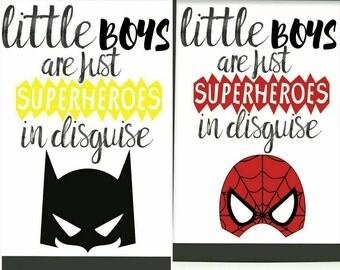 Little Boys are Superheroes, Batman print, Spiderman print, Kids bedroom, Nursery decor, Nursery print, Superhero print, Boys bedroom print