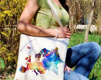 Europe map tote bag -  Map shoulder bag - Fashion canvas bag - Colorful printed market bag - Gift Idea