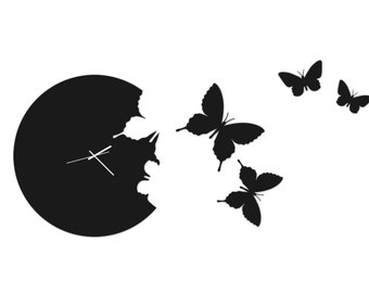 Butterfly Wall Clock Art