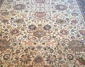 Brownish wool rug / carpet of wool in shades of Brown