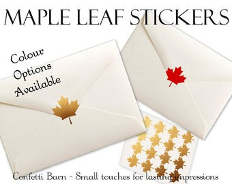 Maple Leaf Stickers - Canada Day Party - Removable Vinyl - Party Invitations - Envelope Sealing Stickers - Planner Stickers #35