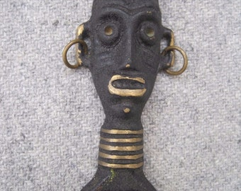 Rare Kitsch 1950's Brass African Mask Bottle Opener by UKAmobile