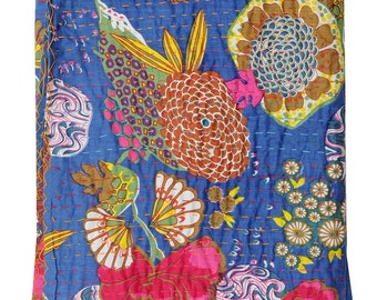 Sangrahan Handmade Indian Quilt Vintage Tropican fruit print Kantha spread Throw Cotton Blanket Twin Gudri  Quilt-3045