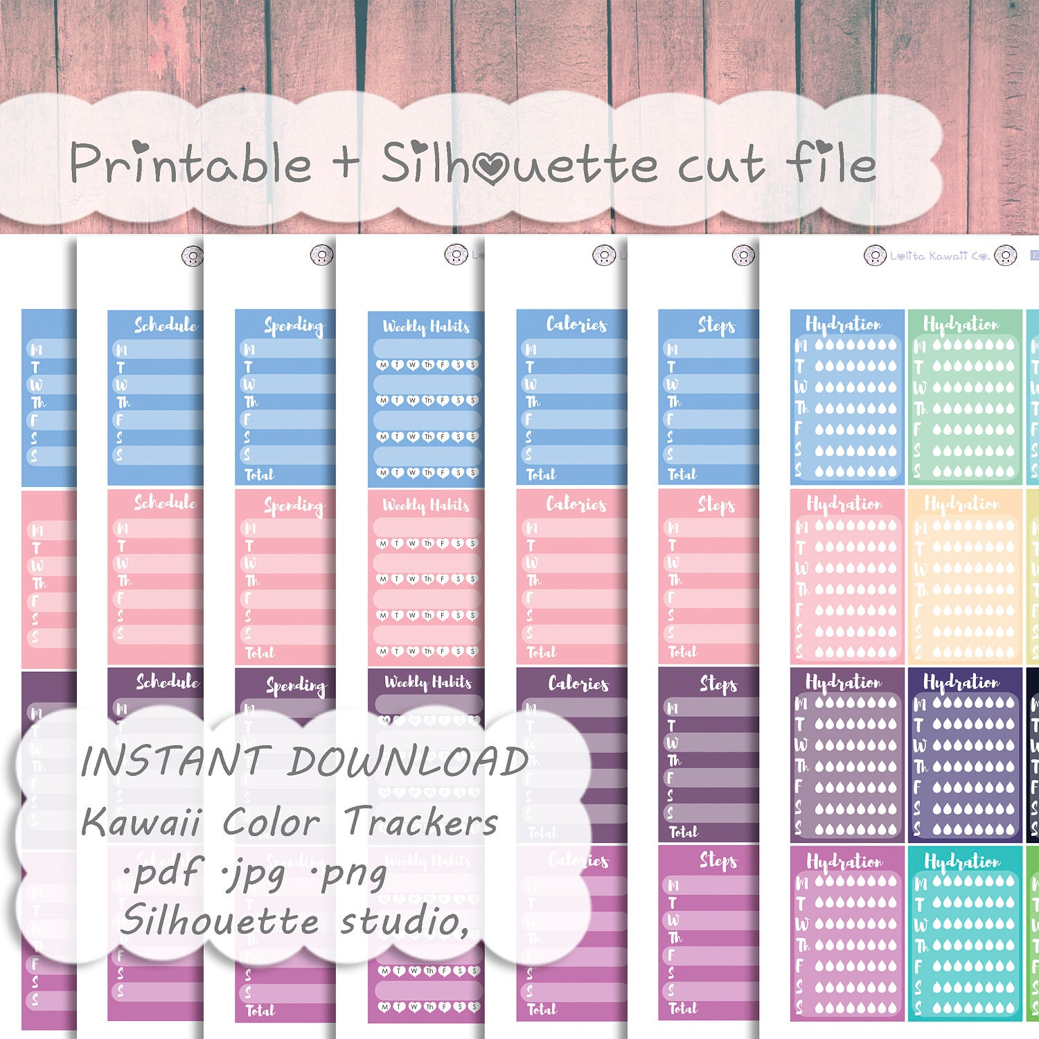 55% OFF Printable Weekly Trackers Pack ~ Hydration Habits Calories ...