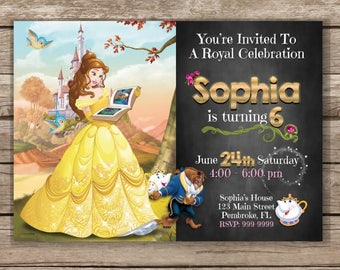 Beauty and the beast invitations Etsy IE
