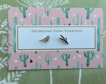 Bird & Branch Silver Stud Earrings Georgiana Esme Mother's Day Gift