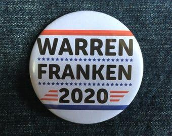 """Warren Franken 2020 58mm (2 1/4"""") pin button badge"""