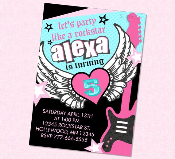 Girly rockstar birthday invitation party city rocker girl girl il570xn stopboris