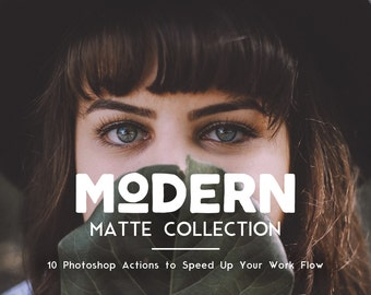 Matte Photoshop Actions - 10 Matte Actions, Matte Photo Editing Bundle, Matte Actions Bundle, Hazy Action, Portrait Action, Actions Download