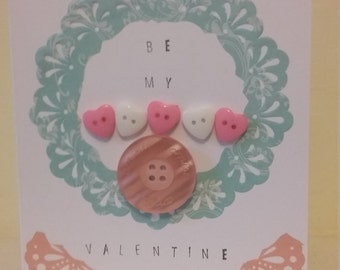 Handmade Vintage Style Valentines Card with buttons