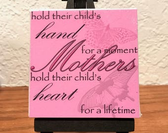 "3x3 Mini Canvas and Black wooden easel with ""Mother"" saying"