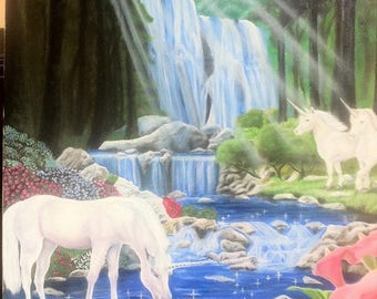 UNICORNS, landscape, nature, Fantasy, oil on canvas, horses, Casacada.
