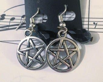 Silver and Black Pentagram Earrings