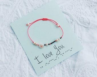 Morse code pearl bead bracelet