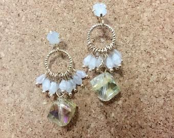 White crystal dangling earrings