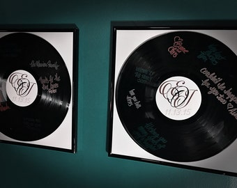 Set of Two Vinyl Record Guestbook Alternative - Black Frame