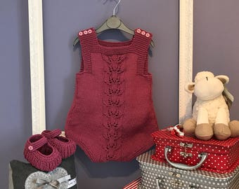 Hand Knitted Baby Girl Romper 3-6 months