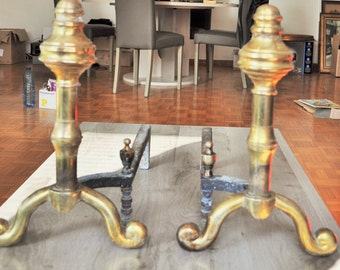 Pair of wrought iron and brass fireplace andirons