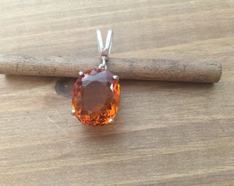 Natural Citrine Pendant in Sterling Silver