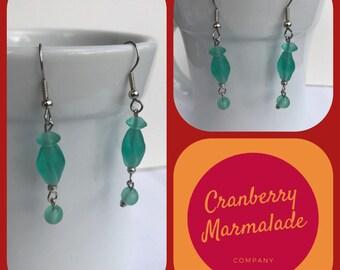 Beaded dangle earrings sea green