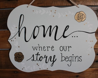 Home Where Our Story Begins Sign