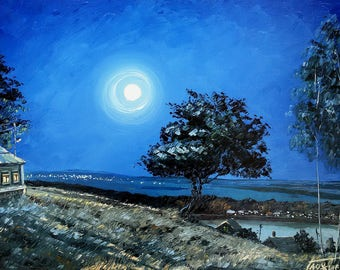 oil painting quiet landscape blue Evening serenity moon