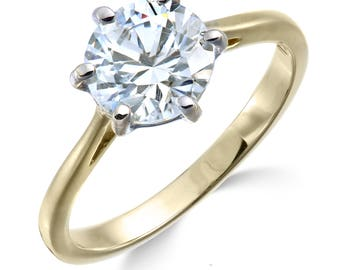 1/4 carat yellow gold diamond engagement ring