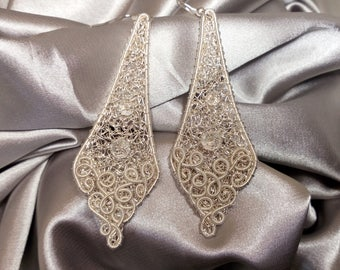 Silver plated wire earrings Wedding earrings