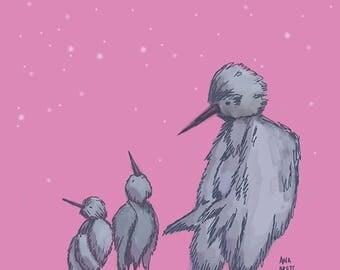Digital illustration, digital art, illustration, birds, pink birds