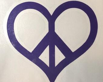 """Vinyl Decal - Peace Heart - 3"""""""