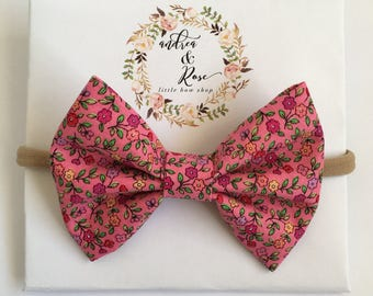 Pink in Spring Flower Bow | Headband