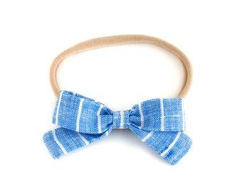 Little Lou | Ocean Stripe | Linen Baby Headbands & Bows