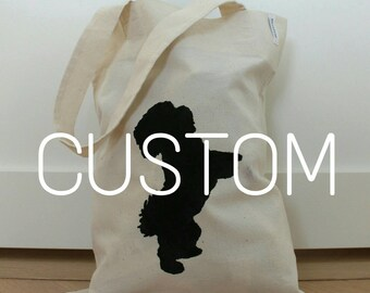 Custom dog tote bag, personalized tote, tote bag, dog silhouette tote