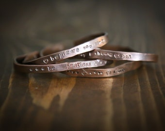 Wimsey Hand Stamped Copper Bracelet Bangles with Inspirational Quotes and sayings Custom - Healing Zen Copper