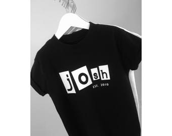 Abstract Kids Black Name Tee