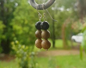 Stone Trio Earrings - Sterling Silver Plated Semi Precious Stones