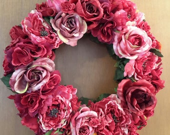 SALE!!  Was 75.00 Wreath Old Fashioned Roses, Door