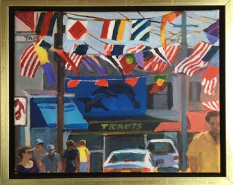 Tickets (Provincetown), Original Acrylic painting, 12-3/4x15-3/4,  including frame