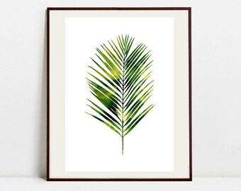 Tropical Leaf Art Botanical Print , Leaf Palm Watercolor Painting, Leaf Green Illustration, Digital Download Art Print