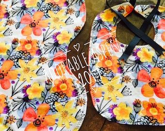 Baby Girl bib & burp cloth - Flowers - Coral Yellow + Black